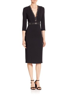 Michael Kors Collection Grommeted V-Neck Sheath Dress