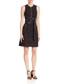 Michael Kors Collection Grommeted Wrap Belt Shift Dress