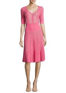 Michael Kors Collection Hand-Crochet Half-Sleeve Dress