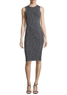 Michael Kors Collection Herringbone Tweed Sleeveless Sheath Dress
