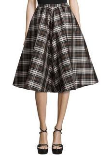 Michael Kors High-Waist Plaid Full Skirt