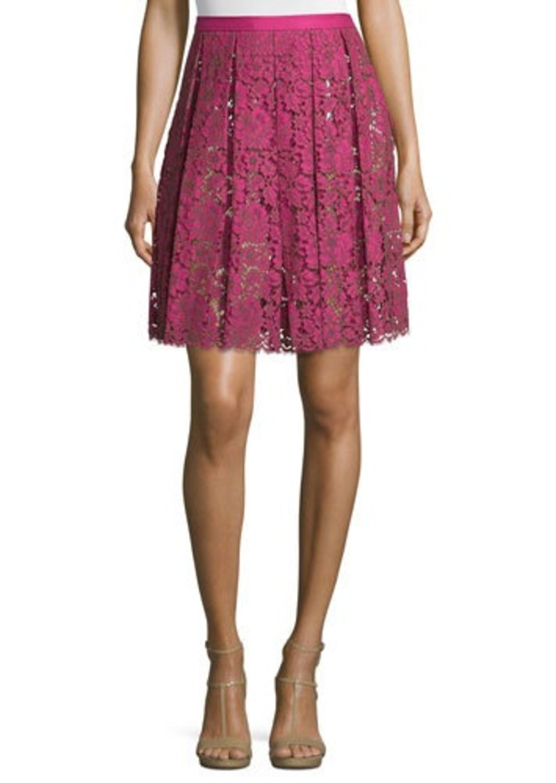 Michael Kors High-Waist Pleated Lace Skirt