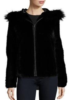 Michael Kors Hooded Mink and Fox Fur Jacket
