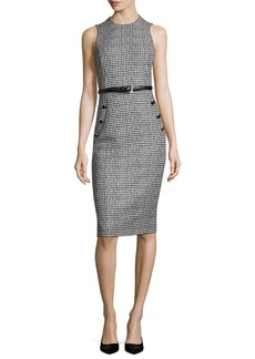 Michael Kors Collection Houndstooth Belted Sleeveless Sheath Dress