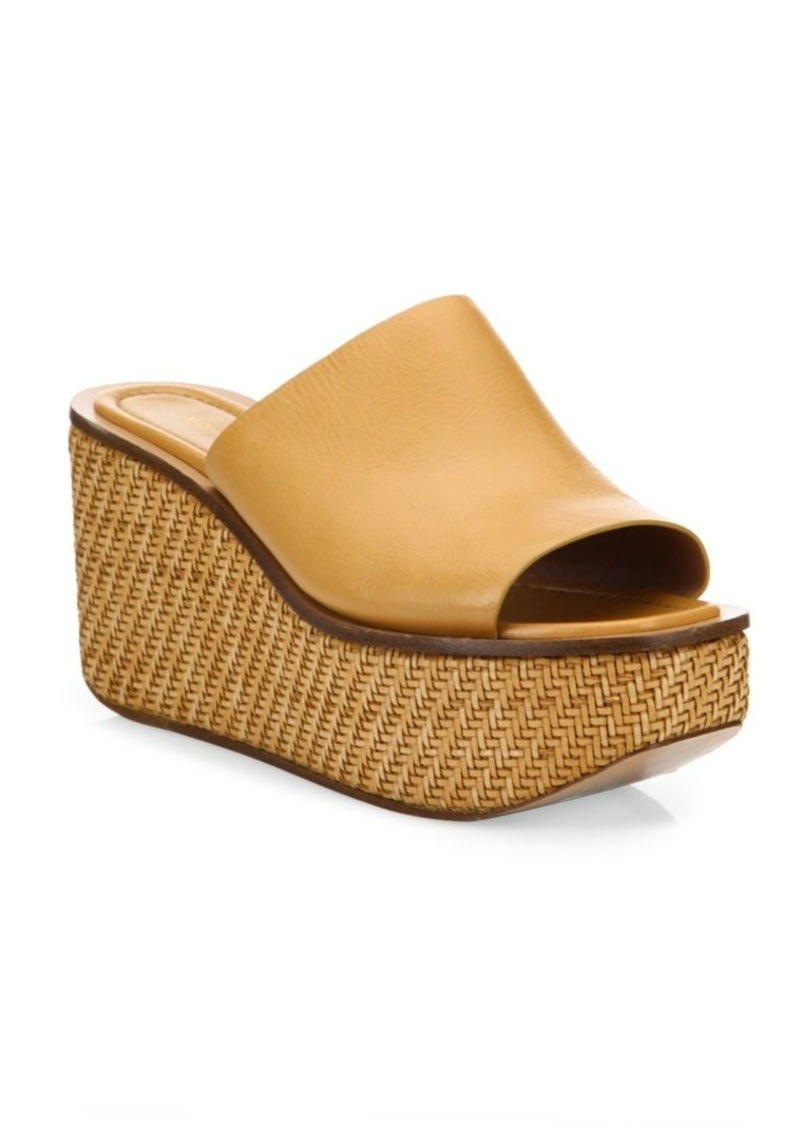 Michael Kors Collection Jane Leather Wedge Platform Mules