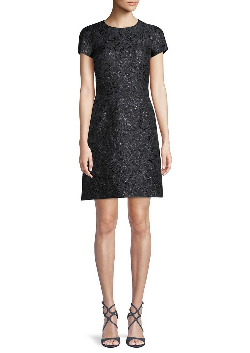 Michael Kors Collection Jewel-Neck Cap-Sleeve Metallic Damask Brocade A-Line Mini Dress
