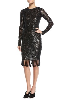 Michael Kors Jewel-Neck Embellished Sequin Cocktail Dress w/ Tassel Hem