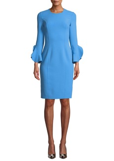 Michael Kors Collection Jewel-Neck Ruffle-Sleeve Stretch-Wool Crepe Sheath Dress