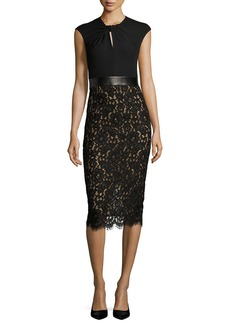 Michael Kors Lace & Jersey Cocktail Sheath Dress
