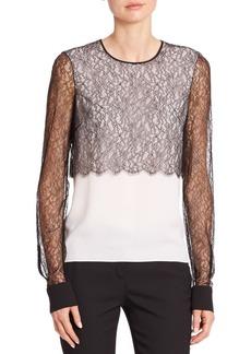 Michael Kors Collection Lace & Silk Crewneck Blouse