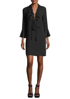 Michael Kors Collection Lace-Front Long-Sleeve Silk Georgette Mini Dress