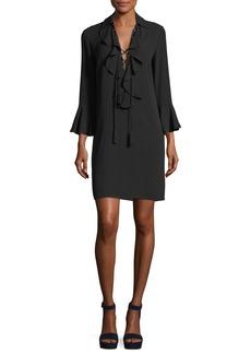Michael Kors Lace-Front Long-Sleeve Silk Georgette Mini Dress