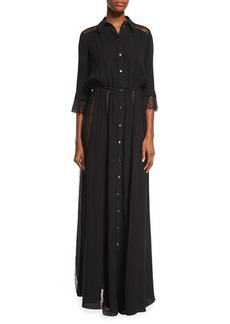 Michael Kors Lace-Inset Button-Front Gown