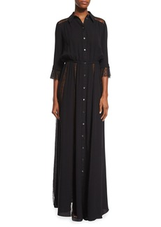 Michael Kors Collection Lace-Inset Button-Front Gown