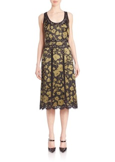 Michael Kors Collection Lace Inset Silk Tank Dress