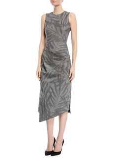 Michael Kors Collection Leaf-Print Stretch-Wool Draped Sheath Dress