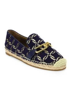Michael Kors Collection Lennox Metallic Embroidered Espadrille Flats