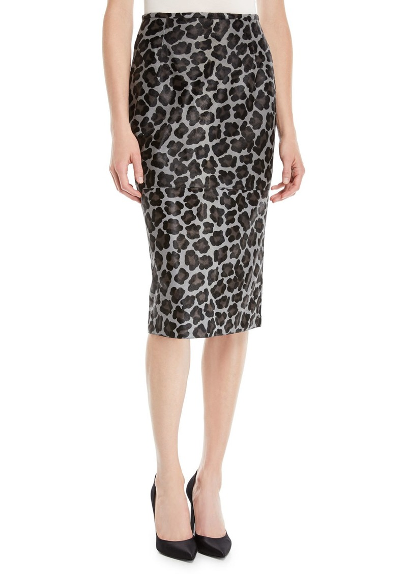 Michael Kors Collection Leopard-Print Calfhair Midi Pencil Skirt