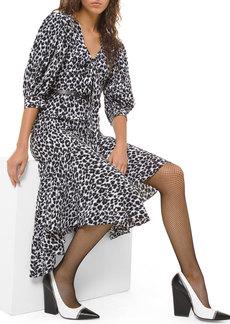 Michael Kors Collection Leopard-Print Silk Asymmetric Dress
