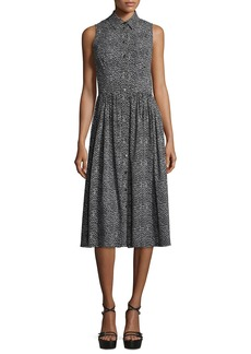 Michael Kors Collection Leopard-Print Sleeveless Silk Shirtdress