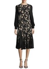 Michael Kors Long-Sleeve Combo Dress