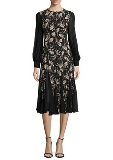 Michael Kors Long-Sleeve Combo Dress