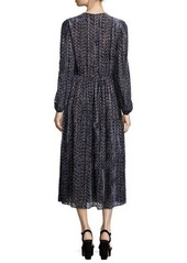 Michael Kors Collection Long-Sleeve Drop-Waist Devore Dress