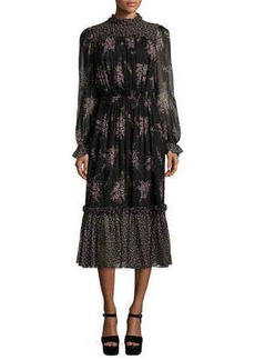 Michael Kors Long-Sleeve Floral-Print Midi Dress