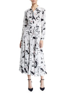 Michael Kors Collection Long-Sleeve Illustration-Print Georgette Shirtdress