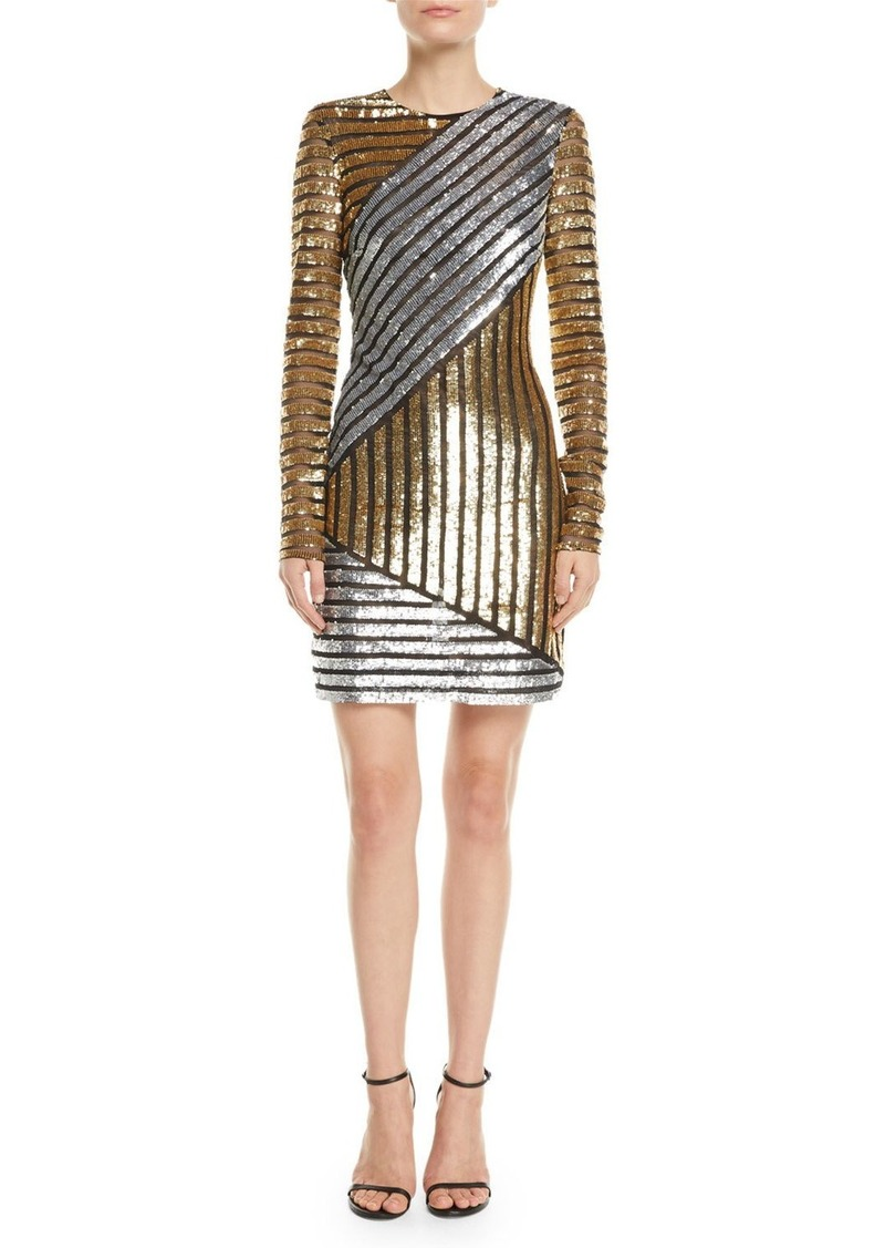 Michael Kors Collection Long-Sleeve Sequined Stretch-Tulle Mini Cocktail Dress