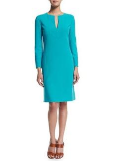 Michael Kors Long-Sleeve Split-Neck Tunic Dress