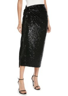 Michael Kors Collection Matte Jersey Paillette Sarong Cocktail Skirt