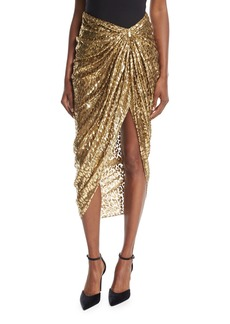 Michael Kors Collection Metallic Cheetah Fil Coupe Sarong Skirt
