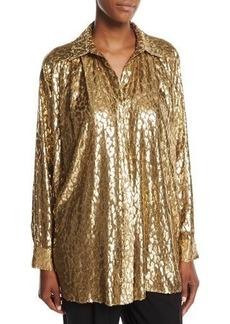 Michael Kors Collection Metallic Cheetah Fil Coupe Shirt