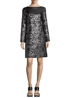 Michael Kors Collection Metallic Floral Jacquard Long-Sleeve Shift Dress
