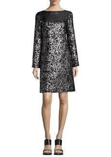 Michael Kors Collection Metallic Floral Jacquard Long-Sleeve Shift Dress