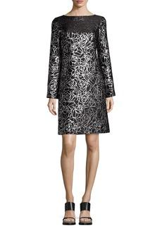 Michael Kors Metallic Floral Jacquard Long-Sleeve Shift Dress