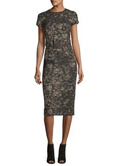 Michael Kors Collection Metallic Jacquard Sheath Dress with Belt