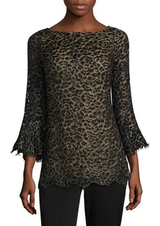 Michael Kors Metallic Lace Bell-Sleeve Top