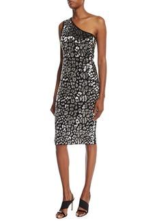 Metallic Leopard-Embroidered One-Shoulder Dress