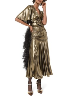 Michael Kors Collection Metallic Ruched Cocktail Dress