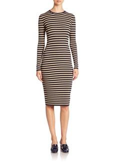 Michael Kors Collection Metallic-Stripe Crewneck Dress