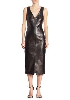 Michael Kors Collection Midi Leather Dress