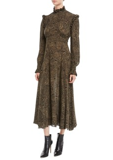Michael Kors Collection Mock-Neck Long-Sleeve Paisley Silk Georgette Dress