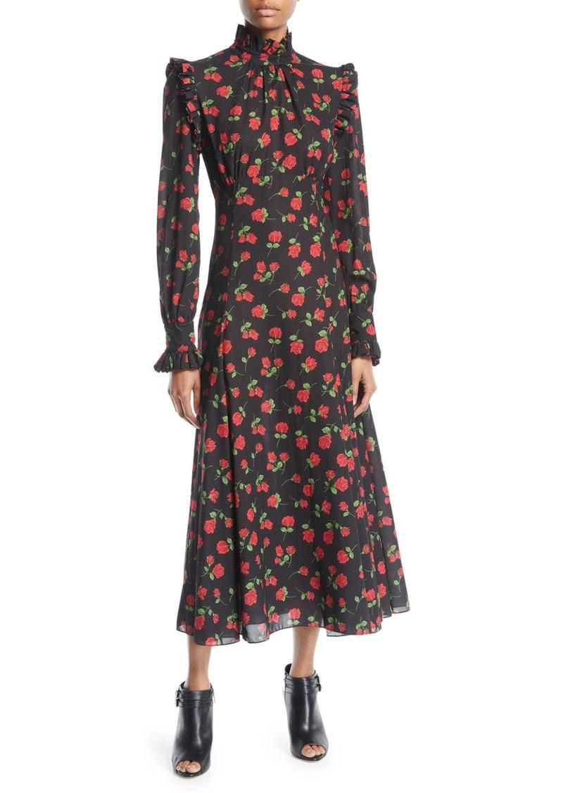 Michael Kors Collection Mock-Neck Long-Sleeve Rose-Print Bias-Ruffle Silk Chiffon Long Dress