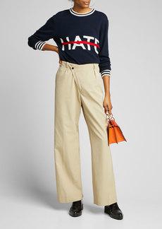 Michael Kors Collection No Hate Intarsia Crewneck Sweater