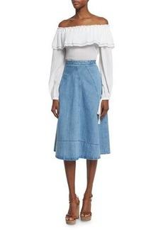 Michael Kors Collection Off-Shoulder Cotton Peasant Blouse