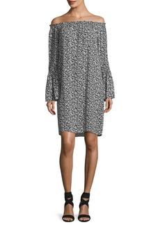 Michael Kors Collection Off-the-Shoulder Mini Floral-Print Shift Dress