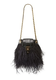 Michael Kors Collection Ostrich Feather Disco Pouch Bag