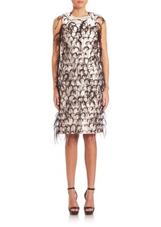 Michael Kors Collection Ostrich Feather Embroidered Silk & Wool Shift Dress